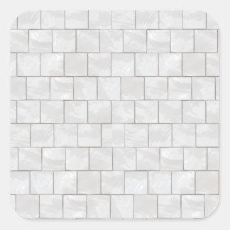 Faux White Decorative Marble Tile Background Square Sticker