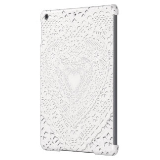 Faux White Lace Fabric Background Case For iPad Air