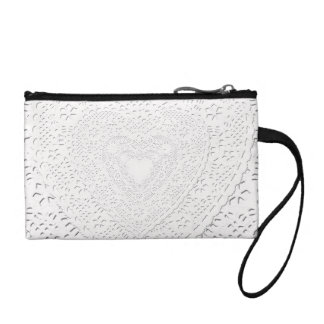 Faux White Lace Fabric Background Coin Purse
