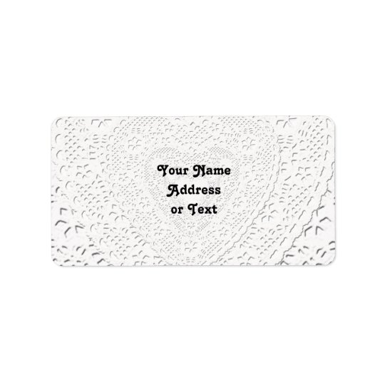 Faux White Lace Fabric Background Label