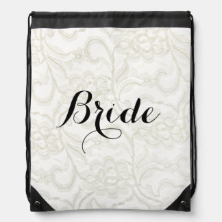 FAUX White Lace Wedding Bridal Drawstring Backpack