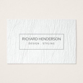 FAUX White Leather Simple Plain Minimal Modern Business Card