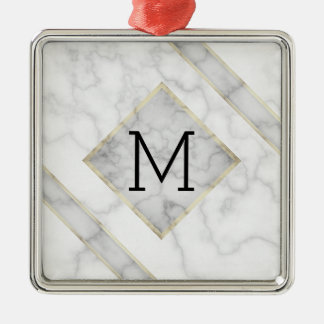 Faux White Marble & Beige Alabaster With Monogram Christmas Ornament