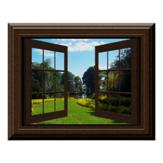 Faux Window Poster Peaceful Landscape Zen