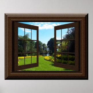 Faux Window Poster Peaceful Landscape Zen