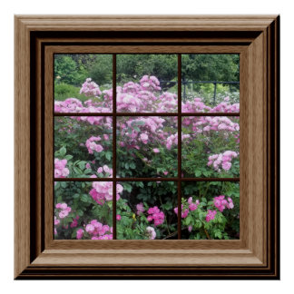 Faux Window Poster Peaceful Rose Garden Relaxing