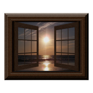 Faux Window Poster Peaceful Sunset Relaxing