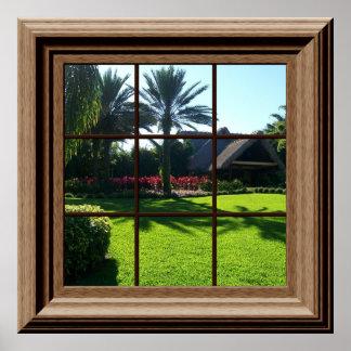 Faux Window Poster Tropical Landscape