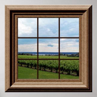 Faux Window Poster Vineyard Scene Wall Art