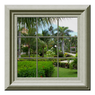 Faux Window Poster Zen Tropical Landscape
