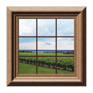 Faux Window Scene Vineyard Peaceful View Stretched Canvas Prints