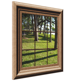 Faux Window View Peaceful Landscape With Trees Canvas Prints