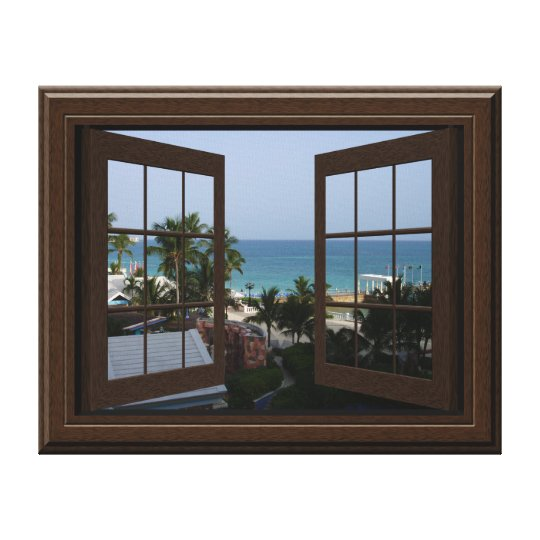 Faux Window View Peaceful Ocean Scene Tropical Canvas