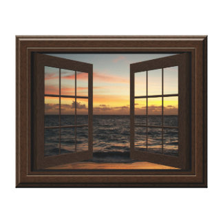 Faux Window View Relaxing Ocean Sunset Pretty Canvas Print