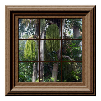 Faux Window View Tropical Forest Trees Poster