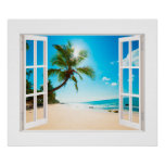 Faux Window with Beach and Ocean Custom Sizes! Poster