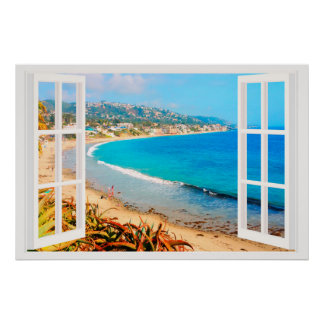 Faux Window with Beach Ocean Poster