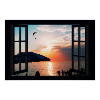 Faux Window with Beach Sunset Ocean Poster