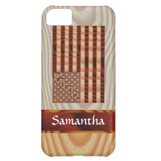 Faux wood American flag iPhone 5C Case