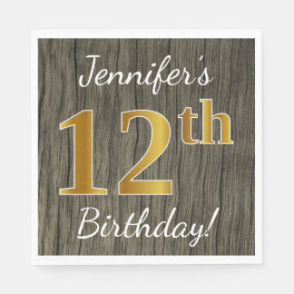 Faux Wood, Faux Gold 12th Birthday + Custom Name Paper Napkin