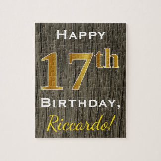 Faux Wood, Faux Gold 17th Birthday + Custom Name Jigsaw Puzzle