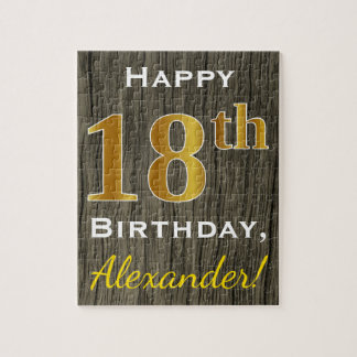 Faux Wood, Faux Gold 18th Birthday + Custom Name Jigsaw Puzzle