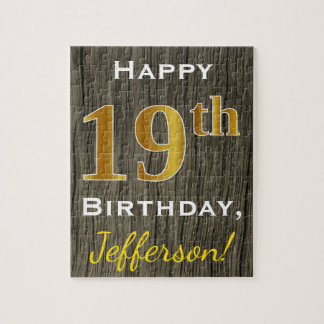 Faux Wood, Faux Gold 19th Birthday + Custom Name Jigsaw Puzzle