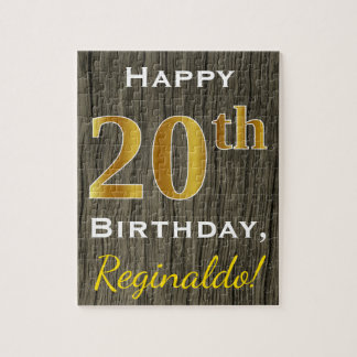 Faux Wood, Faux Gold 20th Birthday + Custom Name Jigsaw Puzzle