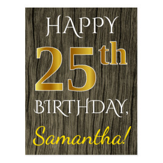 Faux Wood, Faux Gold 25th Birthday + Custom Name Postcard