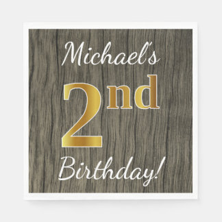 Faux Wood, Faux Gold 2nd Birthday + Custom Name Paper Napkin