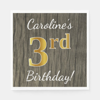 Faux Wood, Faux Gold 3rd Birthday + Custom Name Paper Napkin