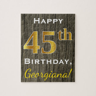 Faux Wood, Faux Gold 45th Birthday + Custom Name Jigsaw Puzzle