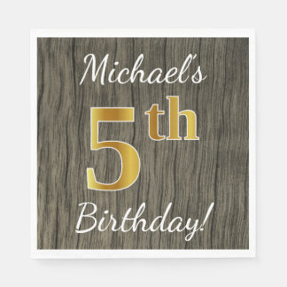 Faux Wood, Faux Gold 5th Birthday + Custom Name Disposable Napkins