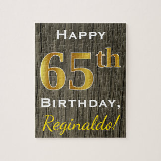 Faux Wood, Faux Gold 65th Birthday + Custom Name Jigsaw Puzzle