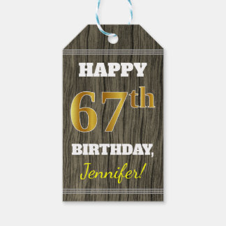 Faux Wood, Faux Gold 67th Birthday + Custom Name Gift Tags