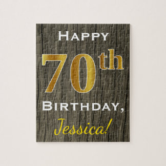 Faux Wood, Faux Gold 70th Birthday + Custom Name Jigsaw Puzzle