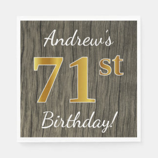 Faux Wood, Faux Gold 71st Birthday + Custom Name Disposable Napkin