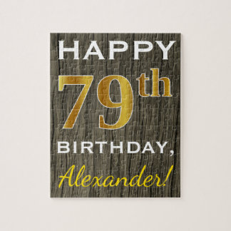 Faux Wood, Faux Gold 79th Birthday + Custom Name Jigsaw Puzzle