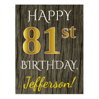 Faux Wood, Faux Gold 81st Birthday + Custom Name Postcard
