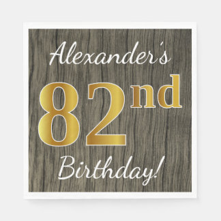 Faux Wood, Faux Gold 82nd Birthday + Custom Name Paper Napkin