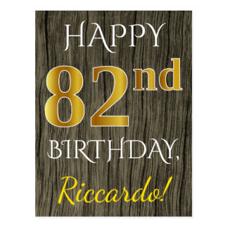 Faux Wood, Faux Gold 82nd Birthday + Custom Name Postcard
