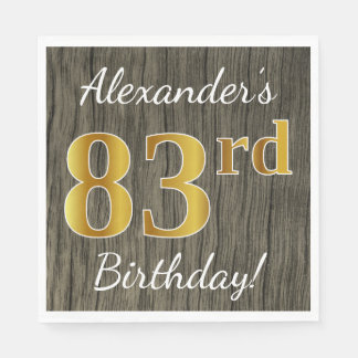 Faux Wood, Faux Gold 83rd Birthday + Custom Name Paper Napkin