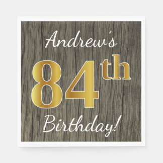Faux Wood, Faux Gold 84th Birthday + Custom Name Paper Napkins