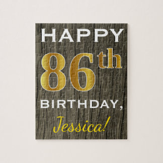 Faux Wood, Faux Gold 86th Birthday + Custom Name Jigsaw Puzzle