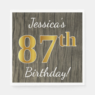 Faux Wood, Faux Gold 87th Birthday + Custom Name Disposable Serviettes