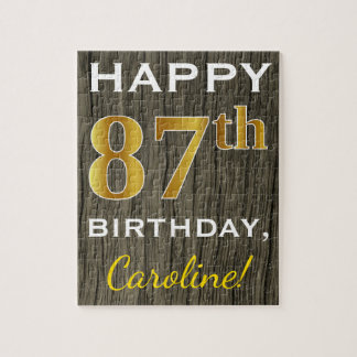 Faux Wood, Faux Gold 87th Birthday + Custom Name Jigsaw Puzzle