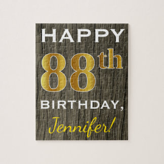 Faux Wood, Faux Gold 88th Birthday + Custom Name Jigsaw Puzzle