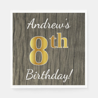 Faux Wood, Faux Gold 8th Birthday + Custom Name Paper Napkin