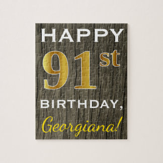 Faux Wood, Faux Gold 91st Birthday + Custom Name Jigsaw Puzzle