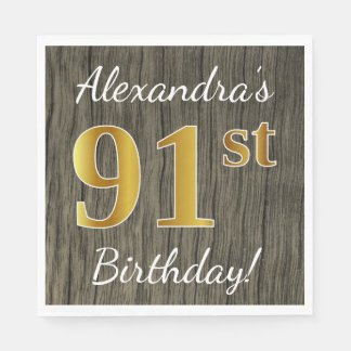 Faux Wood, Faux Gold 91st Birthday + Custom Name Paper Napkins